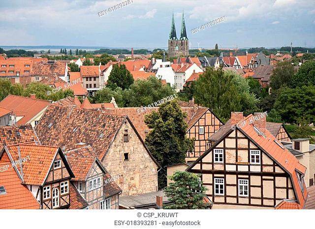 Cityscape of medieval city Quedlinburg