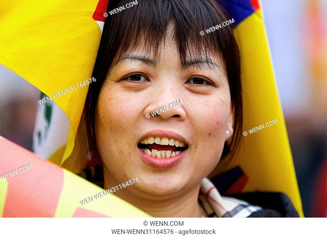 Tibetans and supporters of Tibet take part in a demonstration outside Downing Street in Whitehall, London, and march to the Chinese Embassy in London to mark...