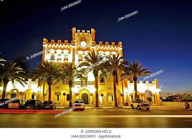 Spain Menorca Mahon Ciutadella old city center former town hall at twilight