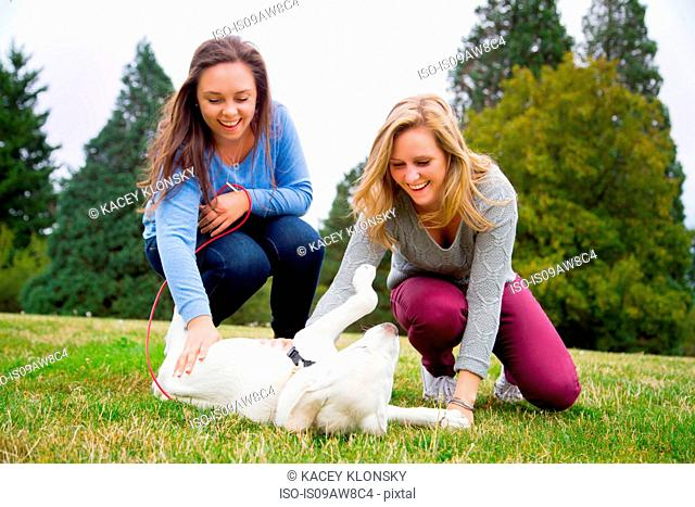 Two young women playing with dog in park