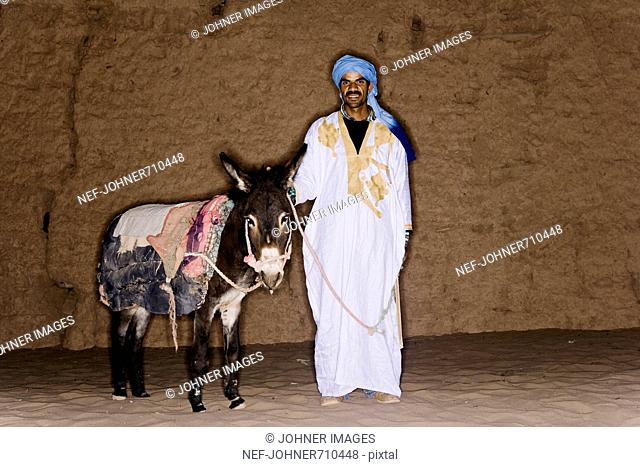 A man and a donkey, Morocco