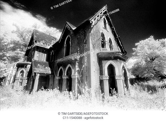 old, abandoned, house, infra red, film