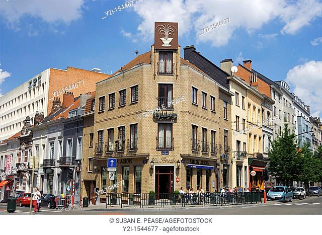 A street corner in the EU District, Brussels, Belgium