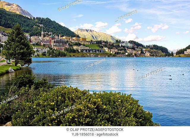 St Moritz and Lake St Moritz in Springtime, Upper Engadin, Switzerland