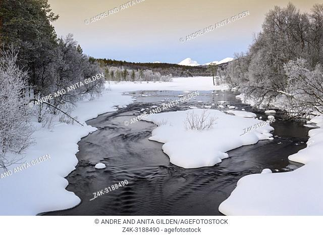 Stream flowing in forest, during winter and Polar night, Norway