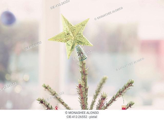 Golden star Christmas tree topper