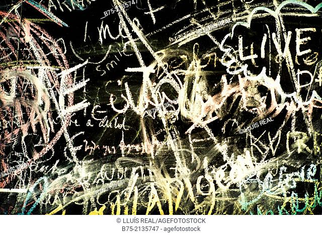 Texts written on a wall, London, England, UK, Europe