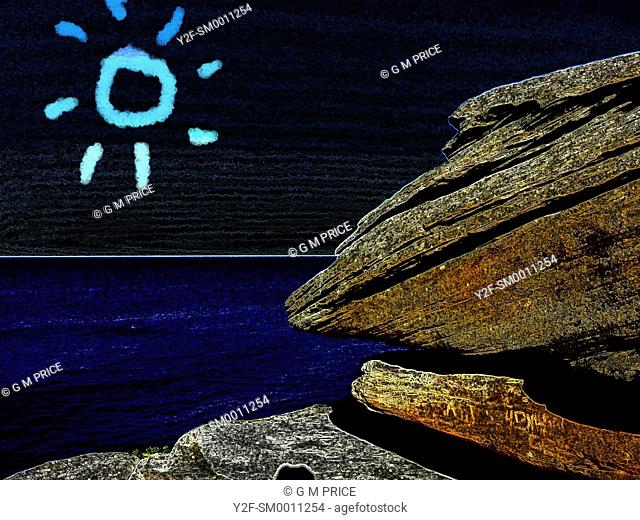 altered colour image of sandstone rock against the sea, black sky and a sketched sun symbol, Sydney
