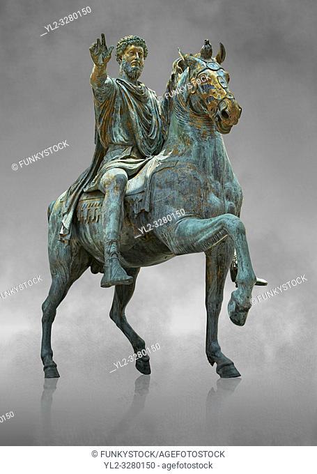 Original Roman bronze statue of Emperor Marcus Aurelius on horseback. 175 AD. Marcus Aurelus was the last of the Five Good Emperors