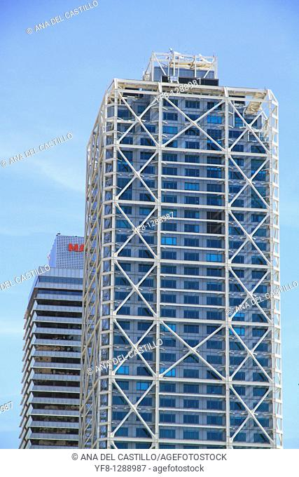 Skycrapers Arts hotel and Mapfre tower Barcelona Catalonia Spain