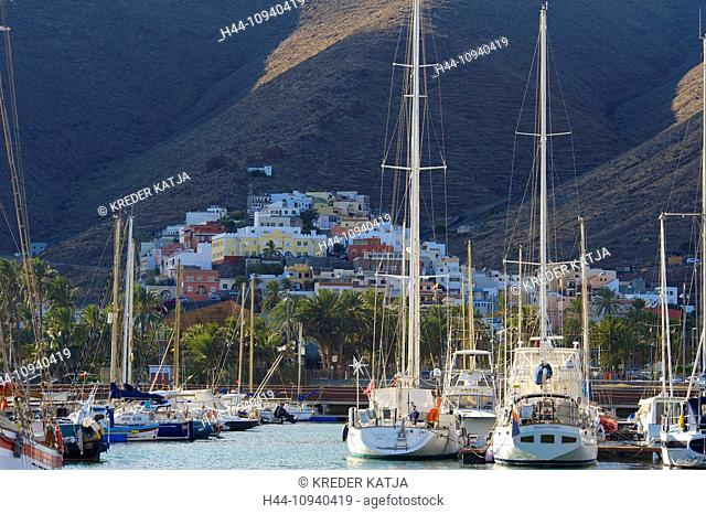 Canaries, Europe, Canary islands, La Gomera, Spain, outside, day, nobody, yacht harbour, yacht harbours, harbour, port, harbours, ports, boat, boats, sail boat