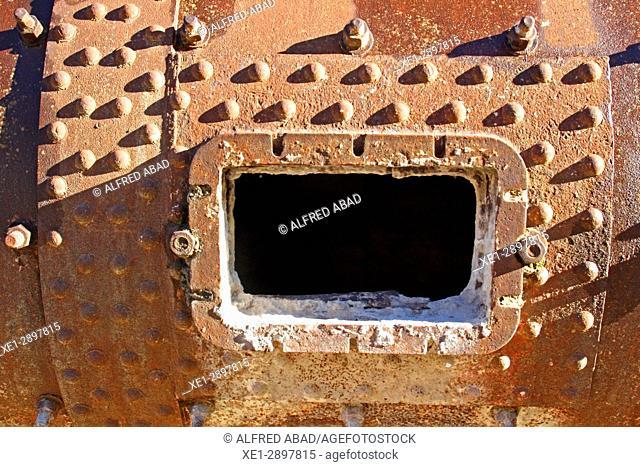 Old cement turbine detail, Asland Cement Museum, Castellar de n'Hug, Catalonia, Spain