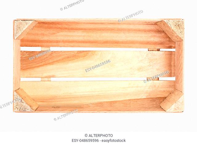 empty wooden crate isolated on white background top view
