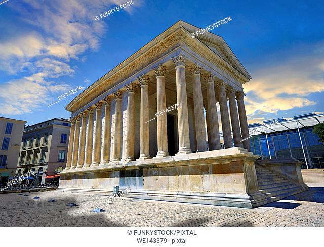 Exterior of the Maison Carrée, a ancient Roman temple built around 4-7 AD and dedicated to Julius Caesar, the best preserved example of a Roman temple, Nimes