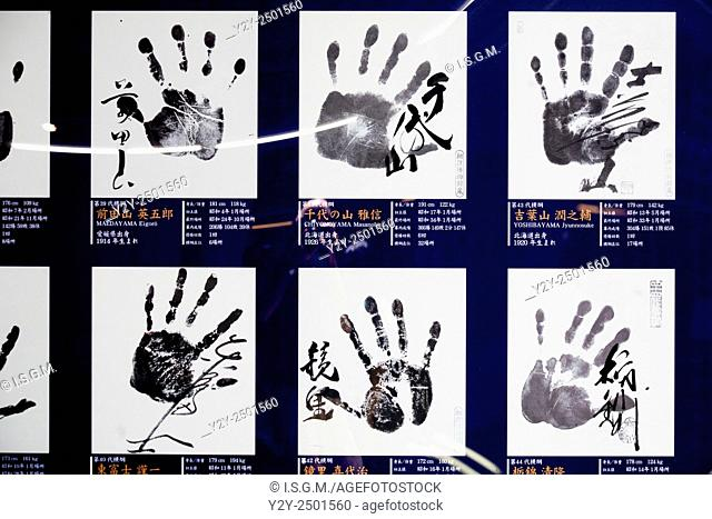 Handprints of famous Sumo wrestlers, Japan