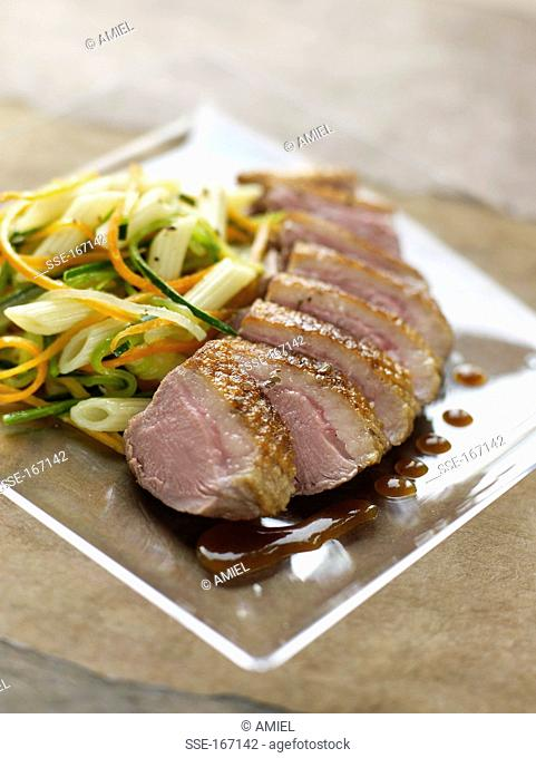 Duck's breast with soft vegetables