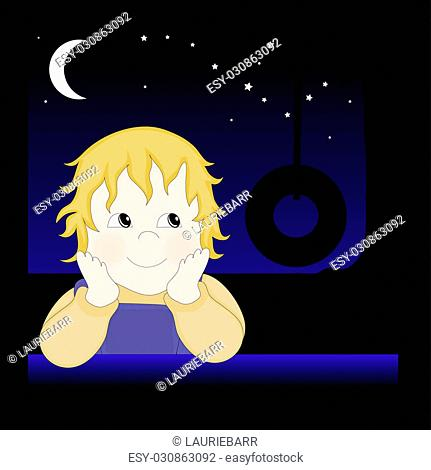 Child at night thinking about playing on a rope swing, illustration