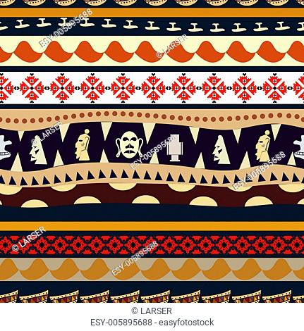 Seamless pattern with elements of embroidery and tribal masks