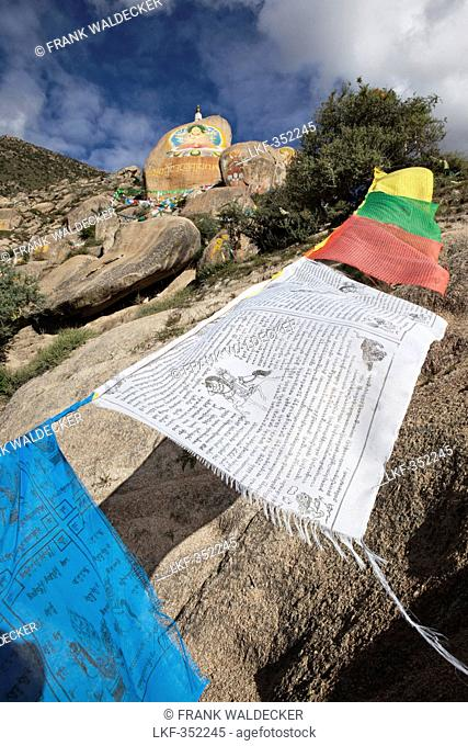 Prayer flags at the Drepung monastery near Lhasa, Tibet Autonomous Region, People's Republic of China
