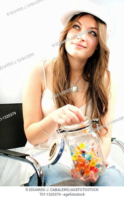fashion girl with candy jar