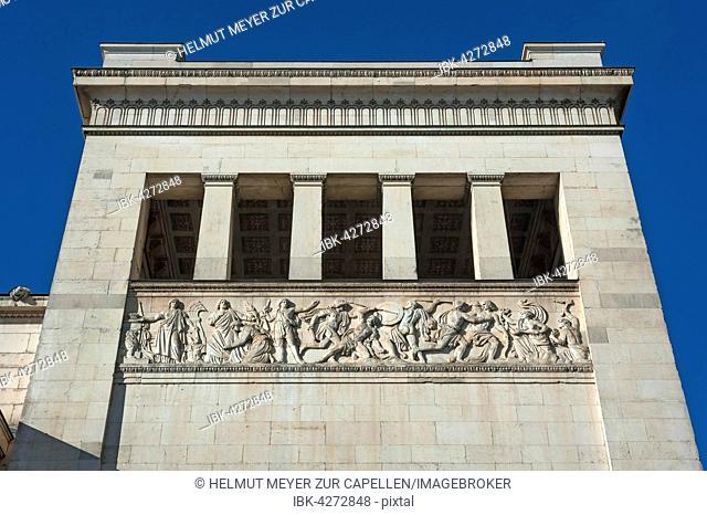 Propylaea, relief, north tower, architect Leo von Klenze, Königsplatz, Munich, Bavaria, Upper Bavaria, Germany