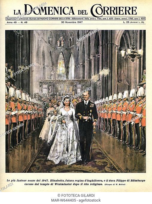 NOZZE REGALI 'Le più fastose nozze del 1947. Elisabetta futura regina d'Inghilterra e il duca Filippo di Edimburgo escono dal tempio di Westminster dopo il rito...