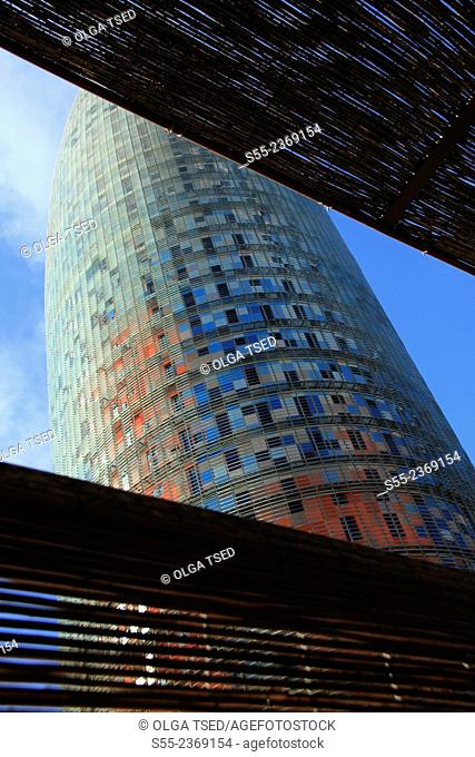 Torre Agbar by Jean Nouvel, 38-storey skyscraper located at Avenida Diagonal next to Plaça de les Glòries Catalanes. According to Jean Nouvel