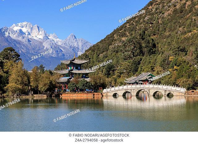 Beautiful view of the Black Dragon Pool and Jade Dragon Snow Mountain in Lijiang, Yunnan - China
