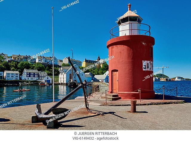 NORWAY, ÅLESUND, 30.06.2018, lighthouse and anchor at entrance of old harbor, Ålesund, Norway, Europe - Ålesund, Møre og Romsdal, Norway, 30/06/2018