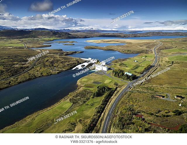 Coastline Sellfoss, South Coast Iceland. This image is shot from a helicopter. Hydroelectric power plant, Ulfljotsvatn lake, Ljosafoss Power Station, Sellfoss