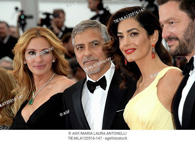 12/05/2016 69 Festival di Cannes. Red carpet del film Money Monster. Nella foto Julia Roberts, George Clooney con la moglie Amal Alamuddin