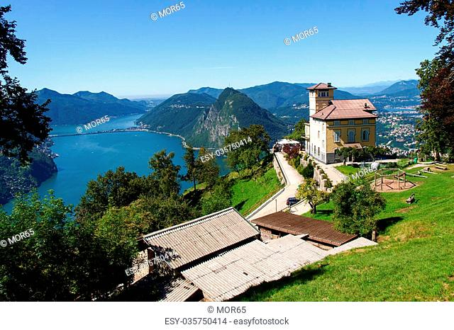 Lugano, Switzerland - Juli 31, 2014: Images of the restaurant on the Monte Bré in Lugano