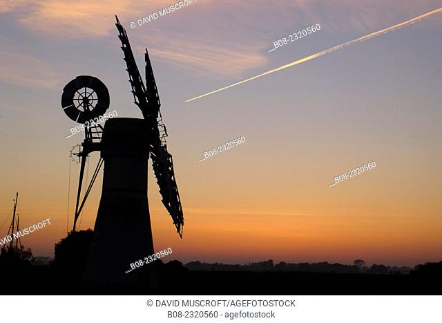 Leisure boats and the windmill, Thurne, Norfolk Broads, Britain