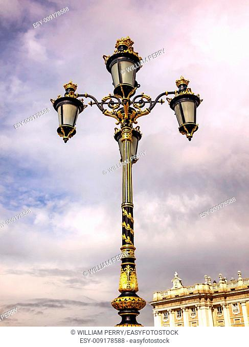 Ornate Lamp Post Royal Palace Palacio Real Cityscape Madrid Spain. Phillip 5 rreconstructed palace in the 1700s