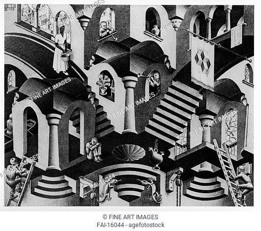 Convex and Concave. Escher, Maurits Cornelis (1898-1972). Lithograph. Modern. 1955. © Escher in het Paleis, Den Haag. 27,5x33,5. Graphic arts