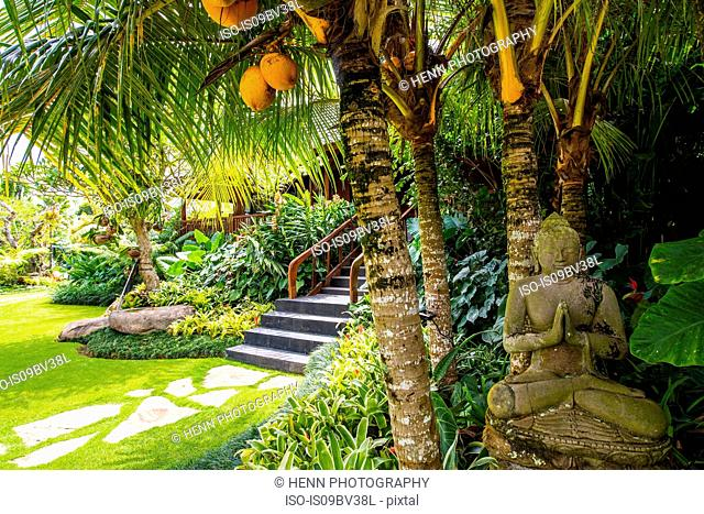 Garden at luxury resort, Ubud, Bali, Indonesia