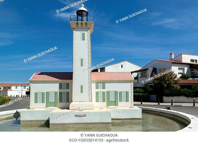 Saintes Maries De La Mer,Rounabout,Lighthouse Of La Gacholle, Bouches Du Rhone, France