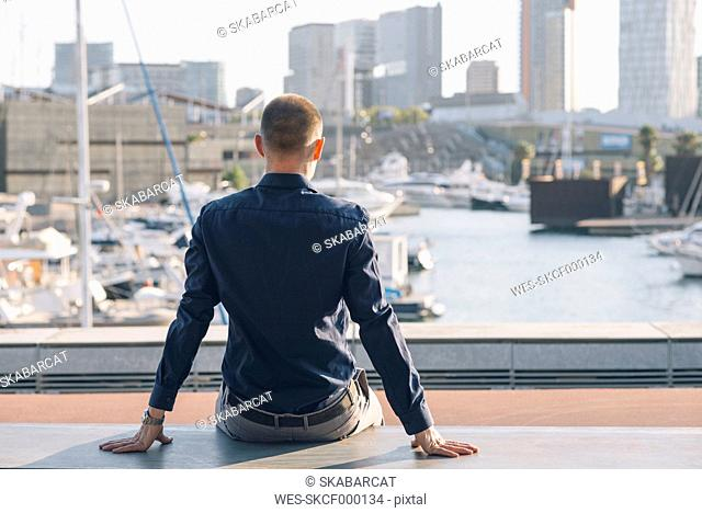 Spain, Barcelona, back view of businessman sitting on a bench looking to the harbour