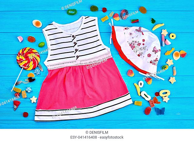 08a450e410838 Collection of beautiful clothing for baby-girl. Cotton summer dress and  floral print hat
