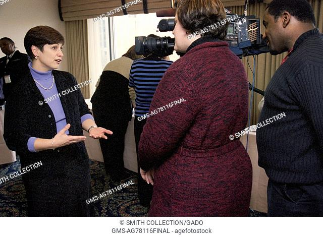 CDC Clinician, Joanne Cono, MD, is being interviewed by a television news team during the 2002 Smallpox Vaccinator Workshop, 2002