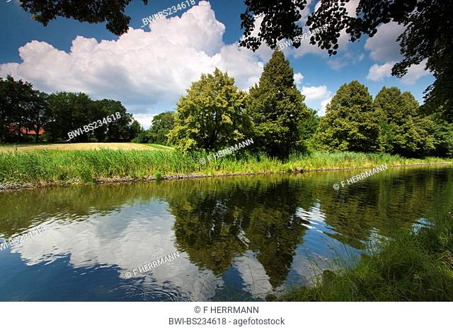 reflections of clouds and shore vegetation in the water of a canal, Germany, Brandenburg, Vogtlaendische Schweiz