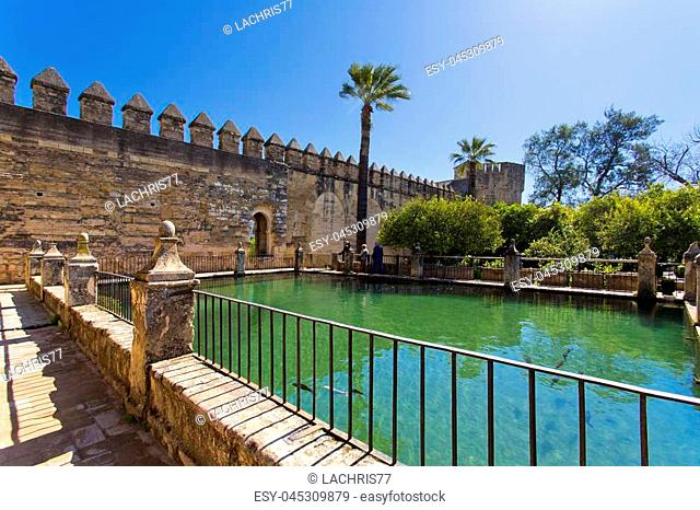 The famous Alcazar de los Reyes Cristianos with beautiful garden in Cordoba, Spain