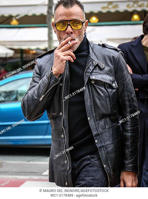PARIS, France- March 3 2018: George Cortina on the street during the Paris Fashion Week