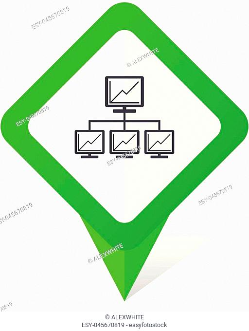 Network green square pointer vector icon in eps 10 on white background with shadow