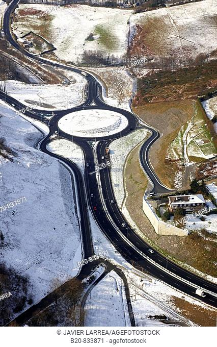 N1 highway roundabout at Gaintxurizketa, Irun. Guipuzcoa, Basque Country, Spain