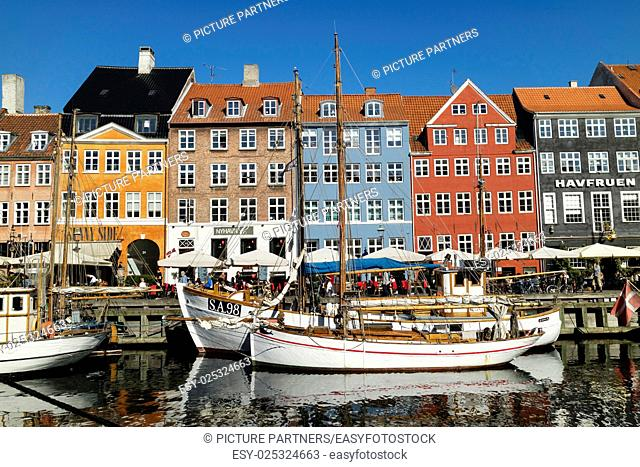 Historical and colorful Nyhavn Canal in Copenhagen, Demark