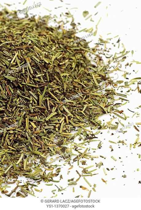 HERBE DE PROVENCE OR PROVENCAL HERBS AGAINST WHITE BACKGROUND