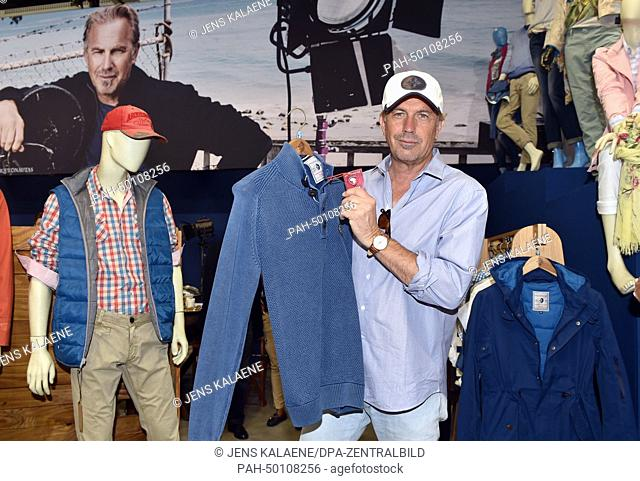 Director, actor and environment activist Kevin Costner poses at the booth of the Arqueonautas label at the fashion fair Panorama during the Mercedes-Benz...