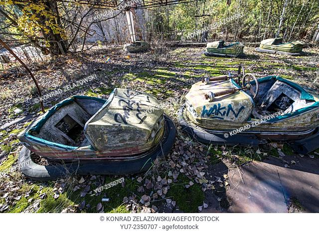 Bumper cars in funfair in city park of Pripyat abandoned city, Chernobyl Exclusion Zone, Ukraine