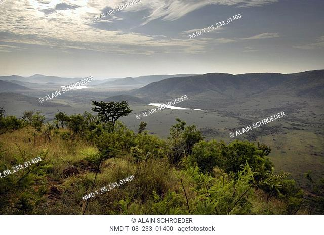 Panoramic view of a landscape, Pilanesberg Park, North West Province, South Africa